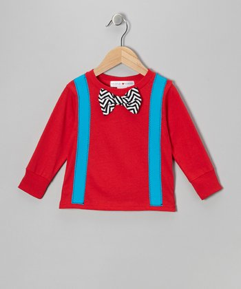Red & Turquoise Bow Tie & Suspenders Tee - Toddler & Boys