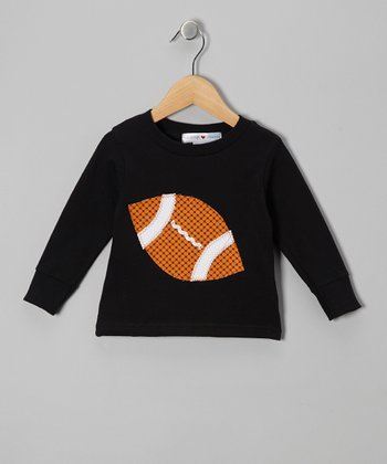 Black & Orange Football Tee - Toddler & Kids