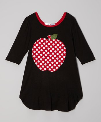 Black & Red Polka Dot Apple Dress - Toddler & Girls