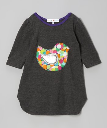 Gray & Purple Birdy Dress - Toddler & Girls