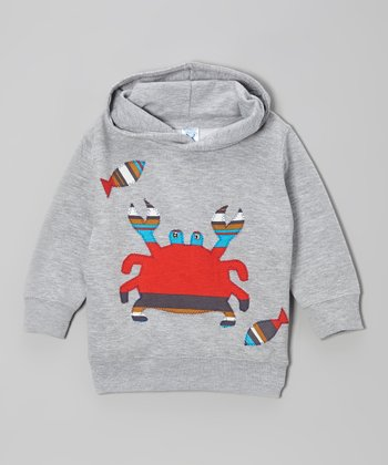little bits Gray & Red Crab Hoodie - Toddler & Boys