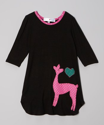 Black & Fuchsia Deer Dress - Toddler & Girls
