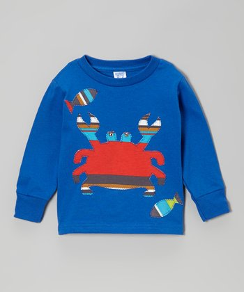 little bits Royal Blue & Red Crab Tee - Toddler & Boys