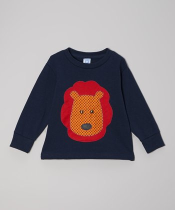 Navy & Orange Lion Face Tee - Toddler