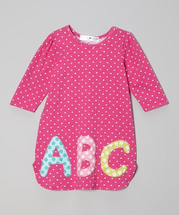 Fuchsia Polka Dot 'ABC' Dress - Toddler & Girls