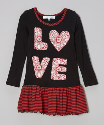 Red & Black 'Love' Drop-Waist Dress - Toddler & Girls