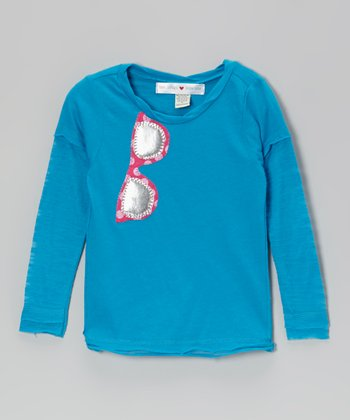 Blue Sunglasses Appliqué Layered Tee - Infant, Toddler & Girls