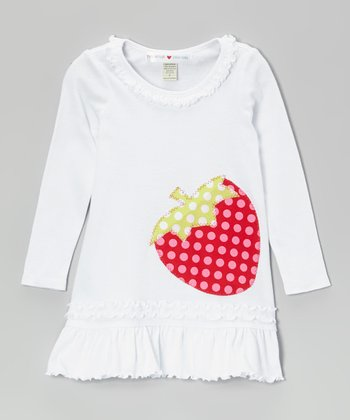 White Strawberry Drop-Waist Dress - Toddler & Girls