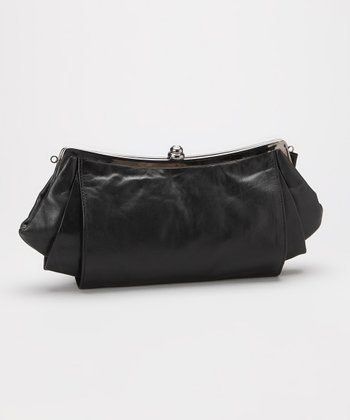 Black Pleated Leather Clutch