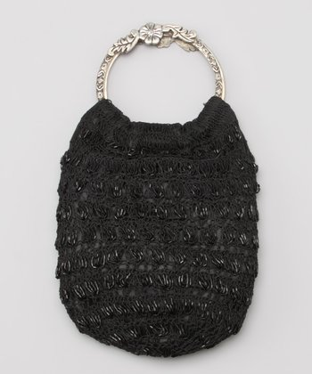 Black Crocheted Floral Handle Tote