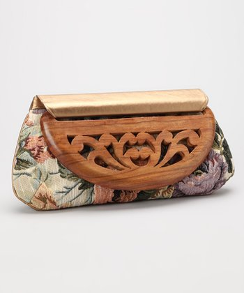 Floral Wood Flap Clutch