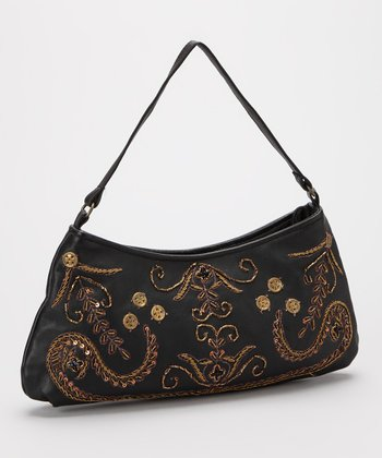Black Embroidered Leather Shoulder Bag
