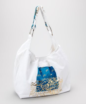Ivory Metallic Patch Hobo