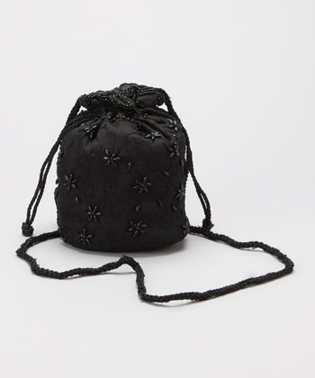 Black Beaded Organza Drawstring Crossbody Bag