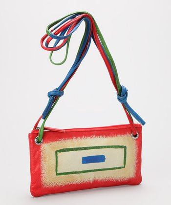 Red & Blue Geo Leather Shoulder Bag