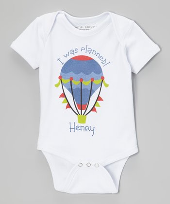 White & Blue Boy 'Planned' Personalized Bodysuit - Infant