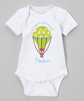 White & Green Boy 'Surprise' Personalized Bodysuit - Infant