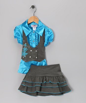 Turquoise Double-Breasted Vest Set - Toddler & Girls