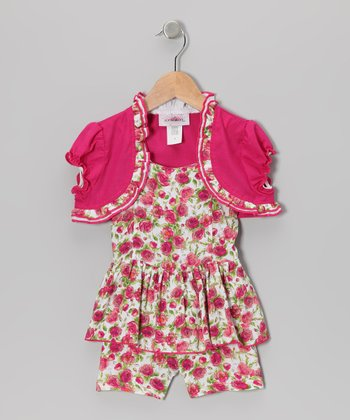 Fuchsia Peplum Romper & Shrug - Toddler & Girls