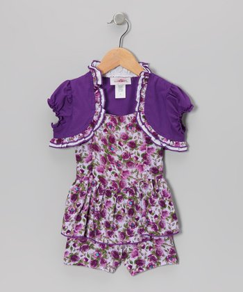 Purple Peplum Romper & Shrug - Toddler & Girls
