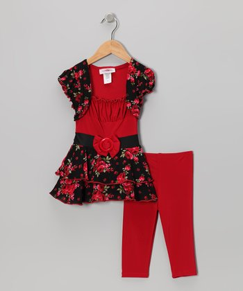 Red Floral Tunic & Leggings - Toddler & Girls