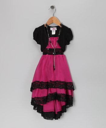 Fuchsia & Black Lace Dress Set - Toddler & Girls