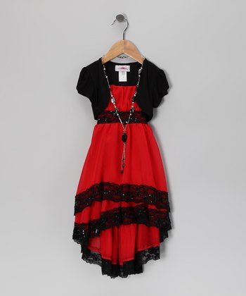 Red & Black Lace Dress Set - Toddler & Girls