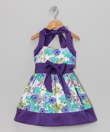 Purple Floral Halter Dress - Toddler & Girls