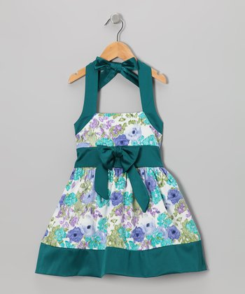Teal Floral Halter Dress - Toddler & Girls