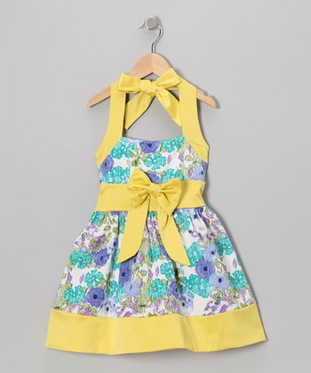 Yellow Floral Halter Dress - Toddler & Girls