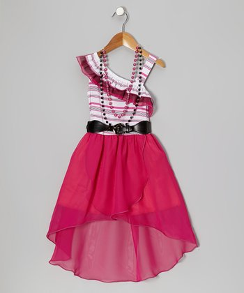 Pink Stripe Belted Hi-Low Dress & Necklace - Toddler & Girls
