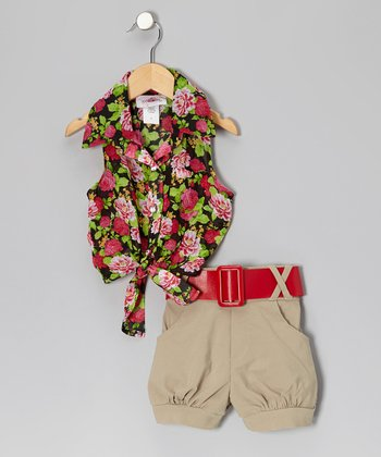 Red & Black Floral Tie-Front Top & Khaki Belted Shorts - Toddler & Girls