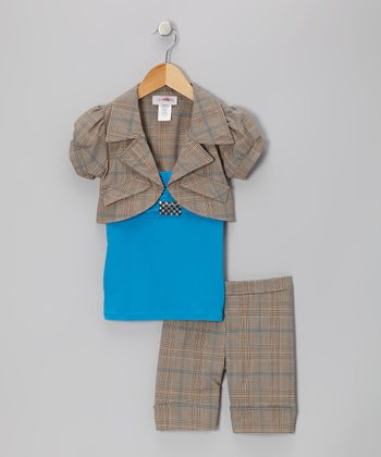 Blue Plaid Shorts Set - Toddler & Girls