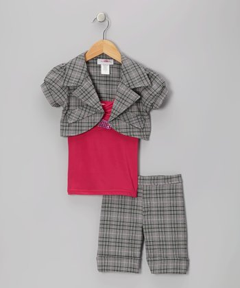 Fuchsia Plaid Shorts Set - Toddler & Girls
