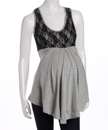 Gray & Black Annette Maternity Tank