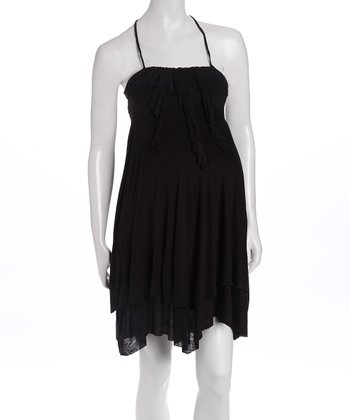 Black Ruffle Maternity Dress