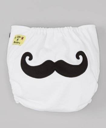 White Mustache Pocket Diaper