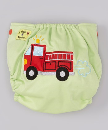 Green Fire Truck Pocket Diaper