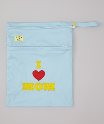 Blue 'I Love Mom' Wet Bag