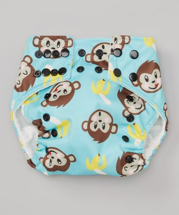 Blue Monkey & Banana Pocket Diaper
