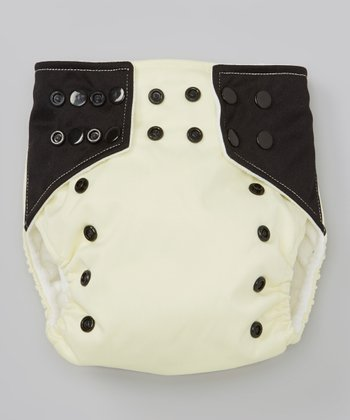 Light Yellow & Black Pocket Diaper