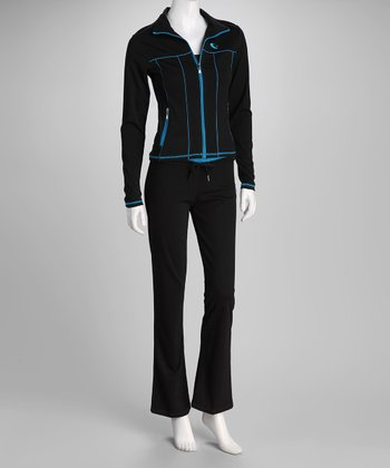 Black & Blue Stretch Fit Track Jacket & Pants