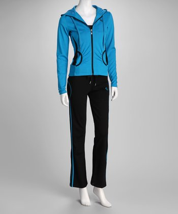Turquoise & Black Stretch Fit Zip-Up Hoodie & Pants