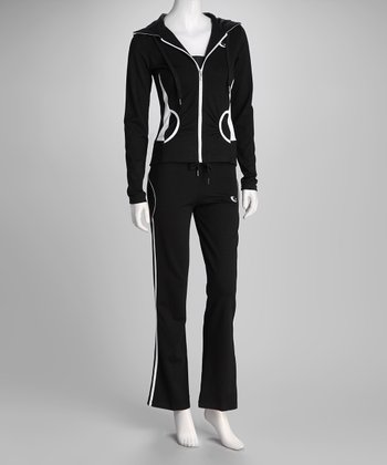 White & Black Stretch Fit Zip-Up Hoodie & Pants