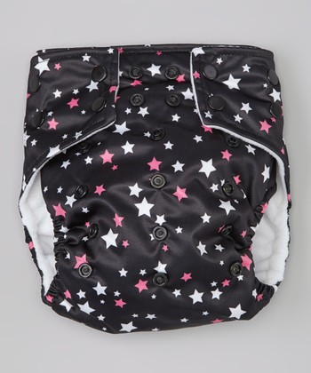 Black & Pink Stars Pocket Diaper