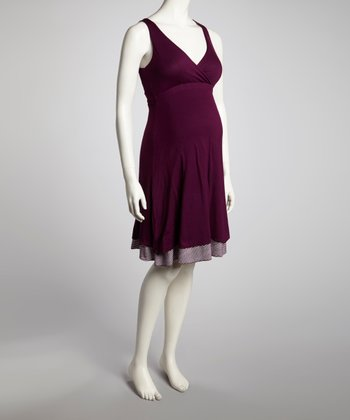 Eggplant Reversible Maternity & Nursing Dress - Women