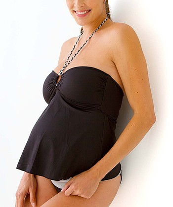Black & Gray Maternity Halter Tankini - Women