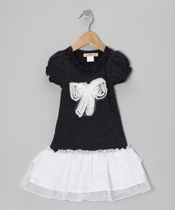 Black & White Polka Dot Bow Drop-Waist Dress - Toddler & Girls