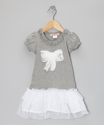 Gray & White Polka Dot Bow Drop-Waist Dress - Toddler & Girls