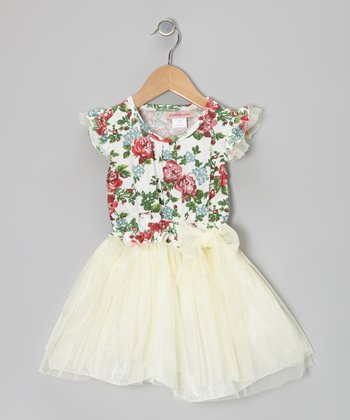 Cream & Pink Rose Tutu Dress - Toddler & Girls